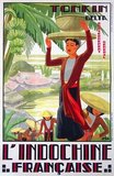 Tourism poster advertising French Indochina or Indochine Francaise from c.1930. French Indochina included Vietnam (Tonkin, Annam and Cochin China) as well as Laos and Cambodia.